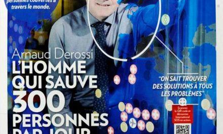 Arnaud Derossi, L'homme qui sauve 300 personnes par jour. Paris Match du 24 au 30 mars 2016. (2 pages).