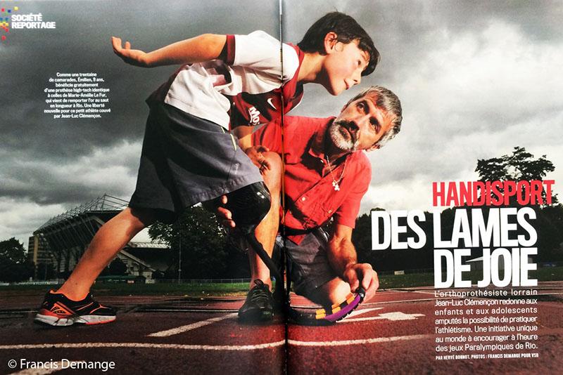 """Handisport…. """"Des lames de joie"""". Magazine """"VSD"""" du 15 au 21 septembre 2016 (4 pages) à l'heure des J.0 Paralympiques, l'initiative de Jean-Luc Clémençon pour les jeunes.."""