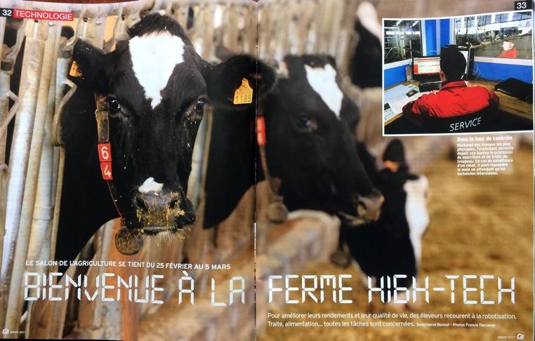 BIENVENUE À LA FERME HIGH-TECH (4 pages ) magazine ÇA M'INTÉRESSE – Mars 2017