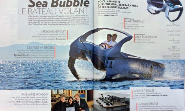 Sea Bubble  le bateau volant qui survolera la Seine et les fleuves du monde. Paris Match du 27 avril au 3 mai 2017.