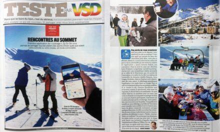 """TESTÉ PAR VSD. Rencontres au sommet. (2 pages VSD N°2111 du 8 au 14/02/2018) L'application """"GO GO SKI""""…. on vous explique."""